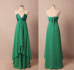 Wholesale Nude Dress Empire Waist - Beaded Evening Gowns with Empire Waist Grass Green V Neck Dresses Party Evening Lace Up Long Chiffon Prom Gowns 2015 Real Picture