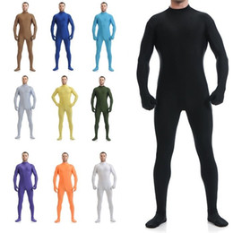 Wholesale-New Sexy Lycra Spandex Zentai Body Suit Bodysuit Headless No Hood Catsuit / Back Zipper Onesies Leotard cheap sexy lycra spandex body suits от Поставщики сексуальные костюмы для тела спайки лайкры