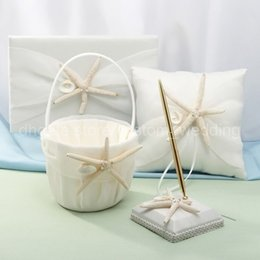 Wholesale Silk Wedding Guest Book - Wholesale-Wedding Ceremony Accessories Sea Star Basket Silk Ribbon Guest Book Pen Set Ring Pillow Free Shipping
