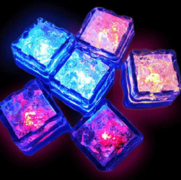 Wholesale Led Bar Ice Cubes - Led Ice Cube water-actived Light-up Flash light 7 colors Auto Changing Crystal Cube for wedding party Event Bar Valentine's Day 200pcs