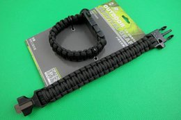 Wholesale Fire Ropes - Outdoors survival wrist rope Emergency Bracelet Rope with Flint Fire Starter Scraper Whistle Gear Kit for Outdoor Camping Green Black