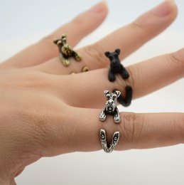 boho chic bijoux Promotion Gros-Punk 1 Pièce Vintage 3D Miniature Schnauzer Chiot Animal Anneau Hommes Bijoux Anillos Boho Chic Anneaux De Chien Pour Les Femmes Anel Feminino