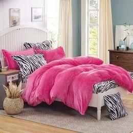 Wholesale Leopard Comforter Full - 2017 Sexy Leopard bedding set king fleece duvet cover zebra bed sheet super warm soft bed linen for Winter bedding home textile