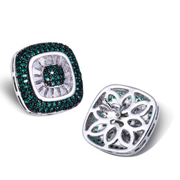 Wholesale Green Square Earrings - New arrival Green sapphire earrings square shape of stud earring Platium plated with top quality of Cubic Zircon Women Earrings