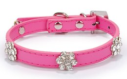 Wholesale Wholesale Stone Dog Collar - PU Plum Stones Decorative Pet Collar Rose color Baby Dog collar 1.5CM Width SIZE HCN033