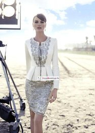 Wholesale Cocktail Dresses Ivory Color - 2016 New Long Sleeves Knee Length Lace Sheath Mother of the bride Suit Satin Applique Formal Party Wedding Cocktail Dresses BO9311