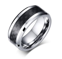 Wholesale Tungsten Rings Carbon Fiber Inlay - 8mm Tungsten Steel Wedding Band Mens & Womens Tungsten Ring with Black Carbon Fiber Inlay Free Engraving