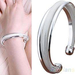 Wholesale Bevel Bracelet - Wholesale-Fashion Classical Silver Jewelry Bevel Edge Bangle Bracelets & bangles Gift Bracelet 02XJ