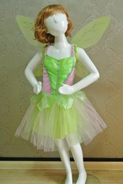 Wholesale Animal Carnival Costumes - Christmas Carnival Costume For Children Halloween Costume For Kids Tinkerbell Costume For Girls Green Fairy Girl Cosplay free shipping
