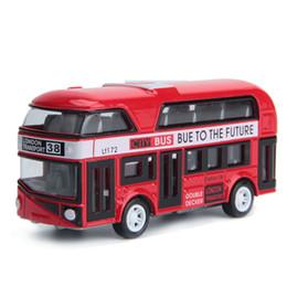 Wholesale London Metal - 2017 NEW Alloy Car Model Pull Back Alloy Children Car 1:43 Simulation London Double Decker Bus