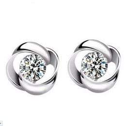 Wholesale Ear Rings Studs - Wholesale Fashion Jewelry 925 Silver Crystal Flower Shape Ear Stud Earrings Ear Ring Pendant ED09