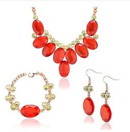 Wholesale Diamond Earings Set - red diamond waterdrops wedding bride set necklace bracelet earings (sp3658)