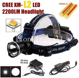 Wholesale Red Blue Headlamps - AloneFire HP87 Headlight Cree XM-L2 LED Zoom Headlamp With 2 x18650 rechargeable batteries AC charger car charger - black,Blue,red