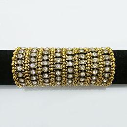 Wholesale Stretch Bracelet Chain Ring - 8 row stands Expandable Stretch bangle white Rhinestone Exaggeration pulseras Bracelet retro Cuff Chain Crystal jewelry joyeria embellishmen