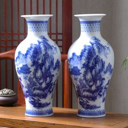 Wholesale Blue White Chinese Porcelain Vases - authentic Blue and white porcelain vase vase furnishing articles sitting room flower arranging flower implement new Chinese porcelain lucky
