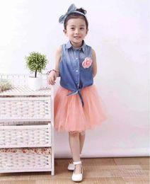 Wholesale Baby Girls Denim Vest - Good Quality Baby Girls Sets Kids Outfits Clothes Tracksuit Sleeveless Vest Flower Denim Tshirts+Tutu Veil Skirts 2Pcs Set Gray Pink J5052