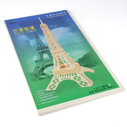 Wholesale Eiffel Tower 3d Puzzle Wood - Fashion 3D Eiffel Tower Model Puzzle Assembled Intellegent Kids Toy ,New Wood toy for kids Intelligent Game F60J0331