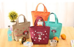 Wholesale Girls Lunch Totes - Korean style cute girls Lunch Bag canvas tote cooler bags waterproof Cooler bag Large lunch cooler bags