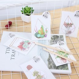 Wholesale Flower Stories - Wholesale- 5pcs lot Kawaii Flower house story greeting card Plant flower card Bless greeting cards Stationery Envelope Message Card