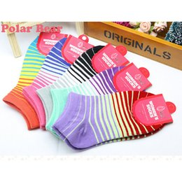 Wholesale Colored Cotton Socks Women - Wholesale-Socks women Summer cotton candy colored rainbow gradient stripes socks woman shallow mouth invisible socks 5 pairs Packing K020