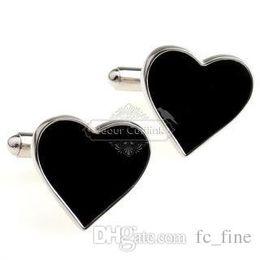 Wholesale Heart Shape Cufflinks - cufflinks gemstone cufflinks black enamel heart-shaped cufflinks AE6710