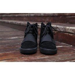 Wholesale Wholesale Fashion Shoes Online - Boost 750 CBLACK NOIESS Kanye West Classic Casual Shoes 2017 Cheap Online Wholesale ALL BLACK Outdoosr Sneaker Footwaer 750 Boosts
