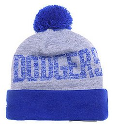 Wholesale Dodger Beanies - 2016 New Beanies Team Baseball Pom Knit Hats Sports Cap Dodgers Beanies Hat Mix Match Order All Caps in stock Top Quality Hat