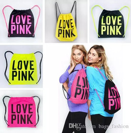 Wholesale Camping Storage - Pink Drawstring Bag Backpacks Women LOVE PINK School Bags Pink Letter Storage Bags Fashion Canvas Handbags Shopping Bags
