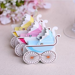 Caja de dulces bautismo favor online-10 Unids / lote Cochecito Trolley Baby Candy Box Baby Shower Bautizo Fiesta Cumpleaños Favor Bautizo Regalo Boda Favor