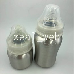 Wholesale Nipples For Baby Wholesale - 2017 new Stainless Steel Baby Bottle single walled Silver 5oz 9oz Infant Bottle With Silicone Nipple for supermarket sale