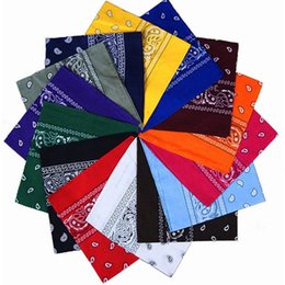 Wholesale Uv Headwear - 100% Cotton Paisley Design Novelty Cycling Magic Anti-UV Bandana Double Side Head Wrap Scarf Neck Scarf Wristband Handkerchief Headwear