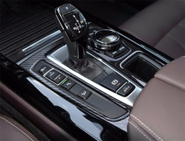 Wholesale Bmw X6 Carbon Fiber - Carbon Fiber Tricolor Car interior Gear Shift Panel Cover Trim Central Console decorative strip for BMW X5 F15 X6 F16 2014-17