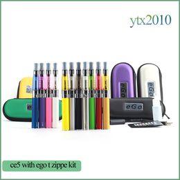 Wholesale Ego Ce5 Wicks Starter - Ce5 clearomizer Electronic cigarette CE5 no wick atomizer Ego T starter kit E-cigarette Vape Pen 1.6ml EGO-T Zipper case Ce5 Vaporizer Ecigs
