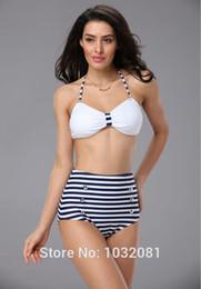 Wholesale Vintage Navy Swimsuit - 2016 biquini sexy black white stripe navy bikini High waist swimsuit vintage bathing suit Pin up plus size swimwear women