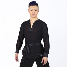 ed762619aa New Men Party Ballroom Latin Tango Salsa Modern Waltz Standard Competition  Practice Dance Shirt Top Black Sexy V Collar T-shirt T002