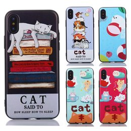 Wholesale Super Cute Iphone Cases - Super Cute Cartoon Cat Soft TPU Cover For Apple iPhone X Case For iPhone 8 7 6 6S Plus 5S 5 Samsung S8 Plus Note 8 Phone Case