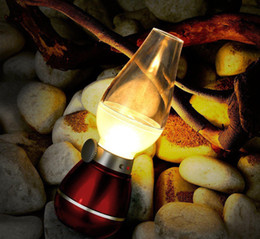 Wholesale Wholesale Vintage Table Lamps - 2015 New LED Blow Light Table Light Desk Lamp 0.4W Vintage Kerosene Lamp Style Adjustable Brightness Energy-saving Night USB Rechargeable