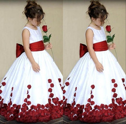 Wholesale Ball Gowns Size 11 - 2016 Hot Jewel Little Girls Pageant Dresses White With Burgundy Plus size Girls Pageant Gowns Birthday Christmas Party Kids Dress BO9277