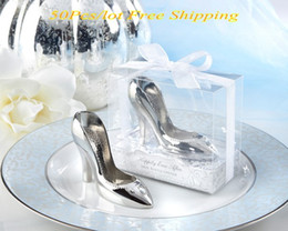 "Wholesale Slippers For Wedding Favors - (50 Pieces lot) Wedding and Bridal Shower Favors of ""A Perfect Fit"" Chrome Slipper Bottle Opener For Wine Themed Party Favors"