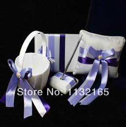 Wholesale Guestbook Ring Pillow - Wholesale-Unique wedding favors new style violet pearl Guestbook Pen Set Ring Pillow Flower Basket wedding four-piece