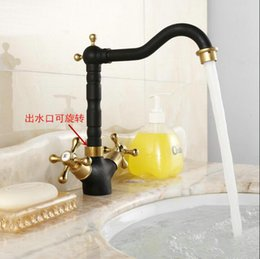 Wholesale Top Waterfall Faucet - Top selling Swivel kitchen faucet black golden brass hot and cold water mixer kitchen faucet mixer tap wash basin faucet G7101