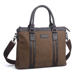 Wholesale Canvas Briefcase Bags Men - High quality male bag men canvas briefcase top handle laptop notebook handbag business casual single shoulder messenger bag