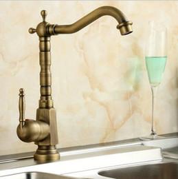 Wholesale Antique Bronze Bathroom - Antique Brass Kitchen Faucet Swivel Bathroom Basin Sink Mixer Tap Crane bronze antique wash basin single hole faucet A-F011