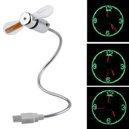 Großhandel beleuchtete uhren online-Großhandels-neuer heißer verkaufender USB Mini flexibler Uhr-Ventilator der Zeit-LED mit LED-Licht - kühles Gerät-Tropfen-Verschiffen-Großverkauf