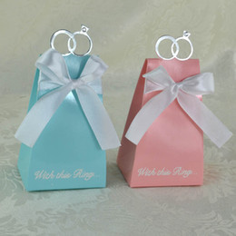 Wholesale Blue Gift Wrap Paper - Foldable Candy Box Stereo With Silk Ribbon Ring Sweet Case European Style Three Colors Chocolates Organizer Pink Blue 0 3wj B