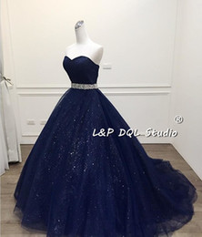 Wholesale Quinceanera Dresses Red Bling - Stunning Navy Blue Ball Gown Prom Dress Bling Bling Quinceanera Dress Shining Sash Long vestidos festa Formal Gowns Quinceanera Dresses