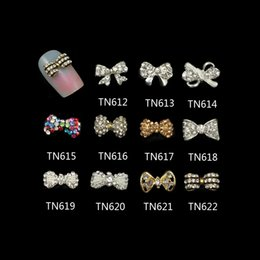 Wholesale 3d Nail Bows - Wholesale- 10 Pcs Lot Clear AB Colorful Rhinestones For Nails Gold Silver 3D Alloy Butterfly Bow Tie Nail Art Decorations TN612-622