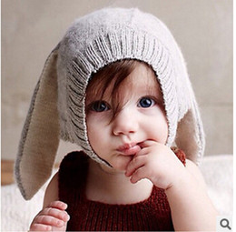 Wholesale winter rabbit hats - 2015 New Arrival Autumn winter Ins oeuf nyc Baby Boy's Girl's Cap Rabbit Ear Hat Knitted Headgear Soft Warm with fleece 0-3Y