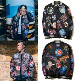 Wholesale Girls Jacket Multi Zippers - European Style streetwear HBA harajuku punk Letters printed baseball jersey MLB cardigan jacket hip hop autumn coat for boys and girl ZJ1408