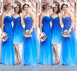 Wholesale Sweetheart Gradient Prom Dress - 2016 New Fashion Ocean Blue Gradient Color Bridesmaid Dresses Sweetheart Pleats High Quality Chiffon Wedding Party Dresses Prom Gowns